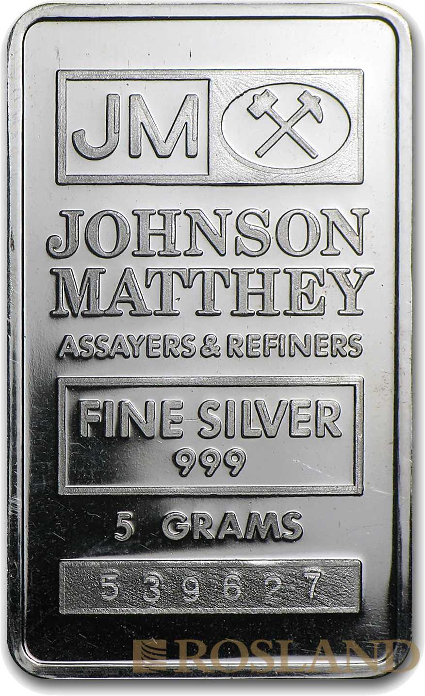 5 Gramm Silberbarren Johnson Matthey