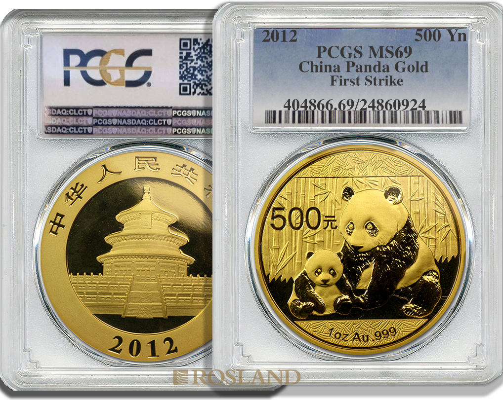 1 Unze Goldmünze China Panda 2012 PCGS MS-69 First Strike