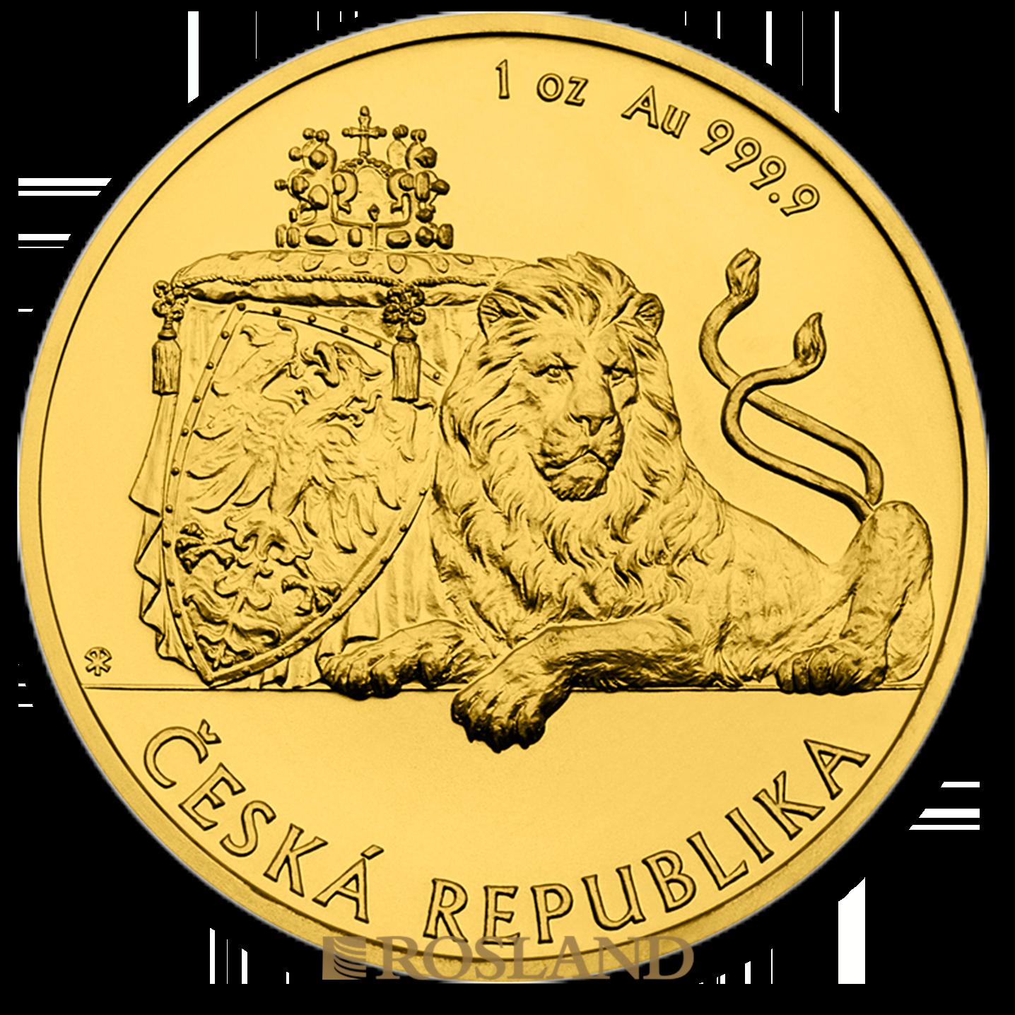 1 Unze Goldmünze Tschechischer Löwe 2018