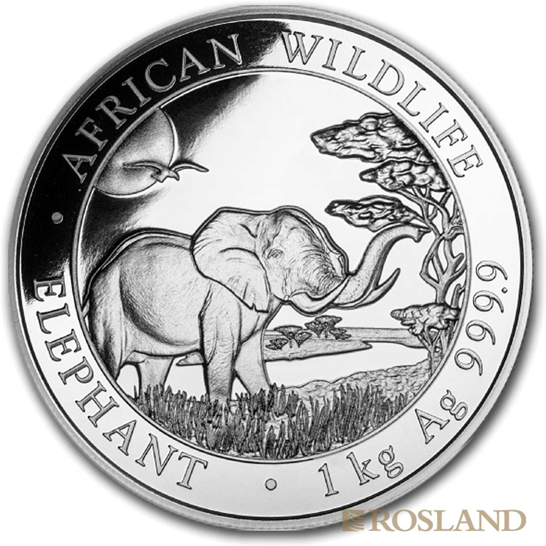 1 Kilogramm Silbermünze Somalia Elefant 2019