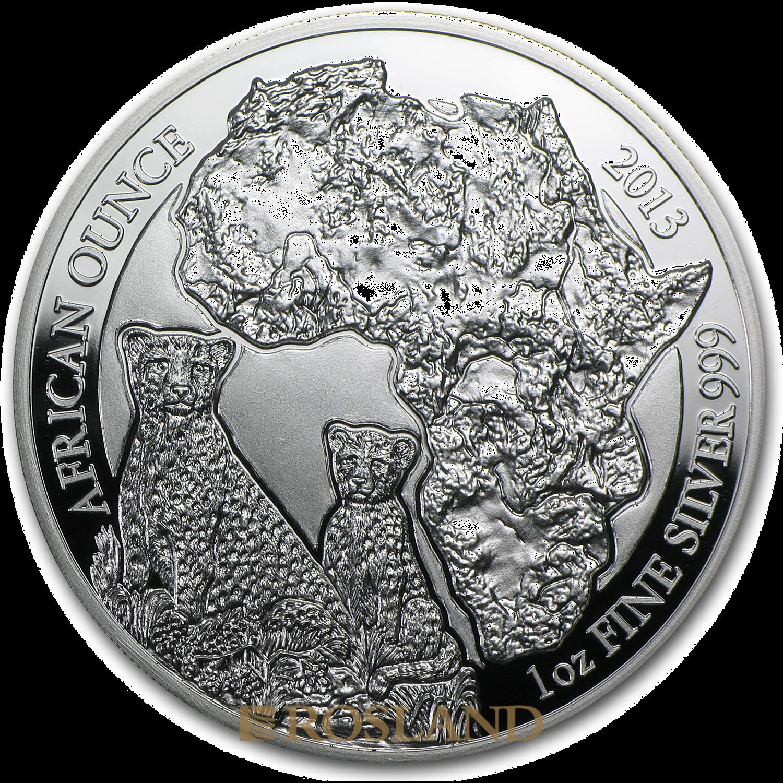 1 Unze Silbermünze Ruanda Wildlife Gepard 2013 PP