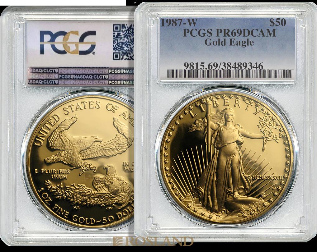 1 Unze Goldmünze American Eagle 1987 (W) PP (MCMLXXXVII) PCGS PR-69 DCAM (Shield)