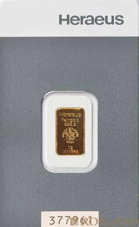 1 Gramm Goldbarren Heraeus
