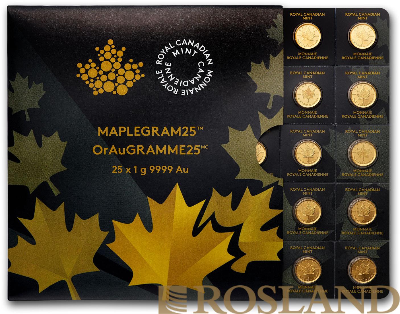 25x1 Gramm Goldmünze Maple Leaf 2014 (Maplegram25™)