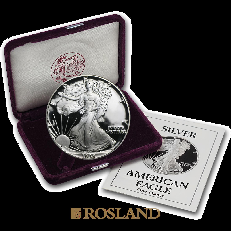 1 Unze Silbermünze American Eagle 1988 (S) PP (Box, Zertifikat)