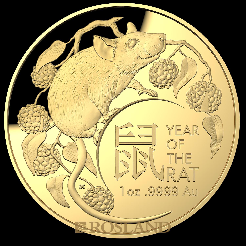 1 Unze Goldmünze RAM Lunar Jahre der Ratte 2020 PP (Box, Zertifikat)