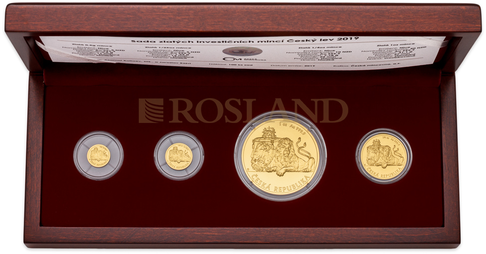 1,31 Unzen - 4 Goldmünzen Set Tschechischer Löwe 2019 (Box, Zertifikat)