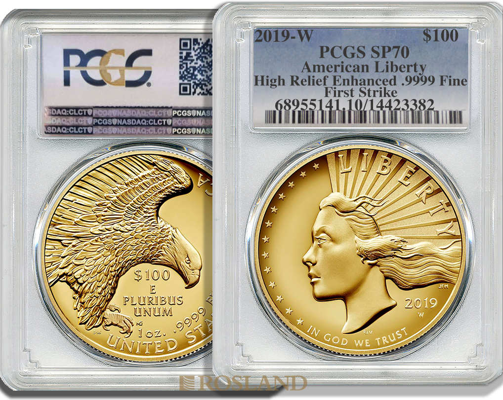 1 Unze Goldmünze American Liberty 2019 PL PCGS SP-70 (HR, FS)