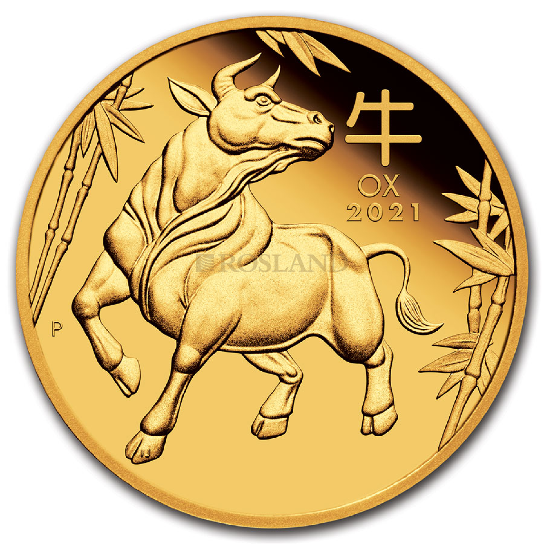 1/10 Unze Goldmünze Lunar 3 Ochse 2021 PP (Box, Zertifikat)
