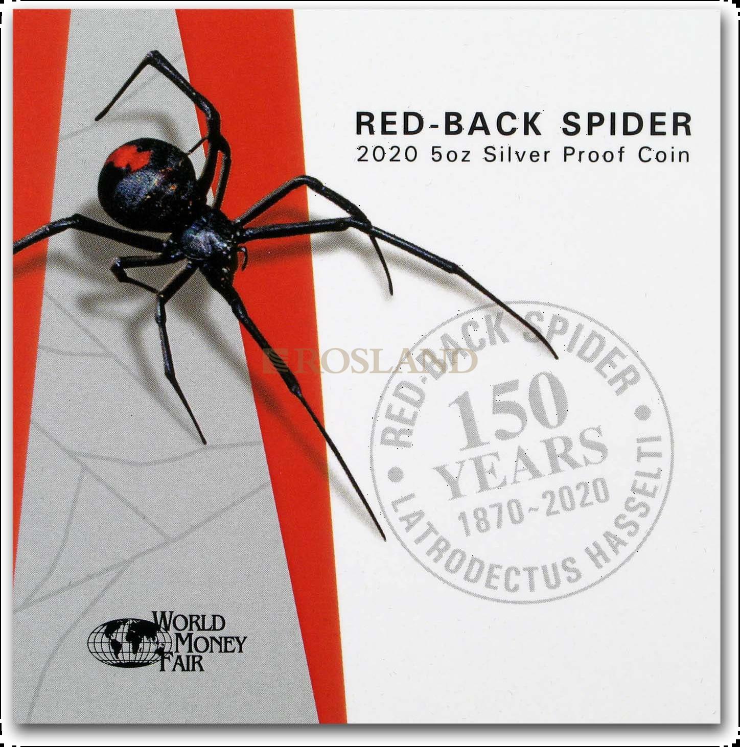5 Unzen Silbermünze Niue Redback Spider 2020 PP (Koloriert, Box, Zertifikat)