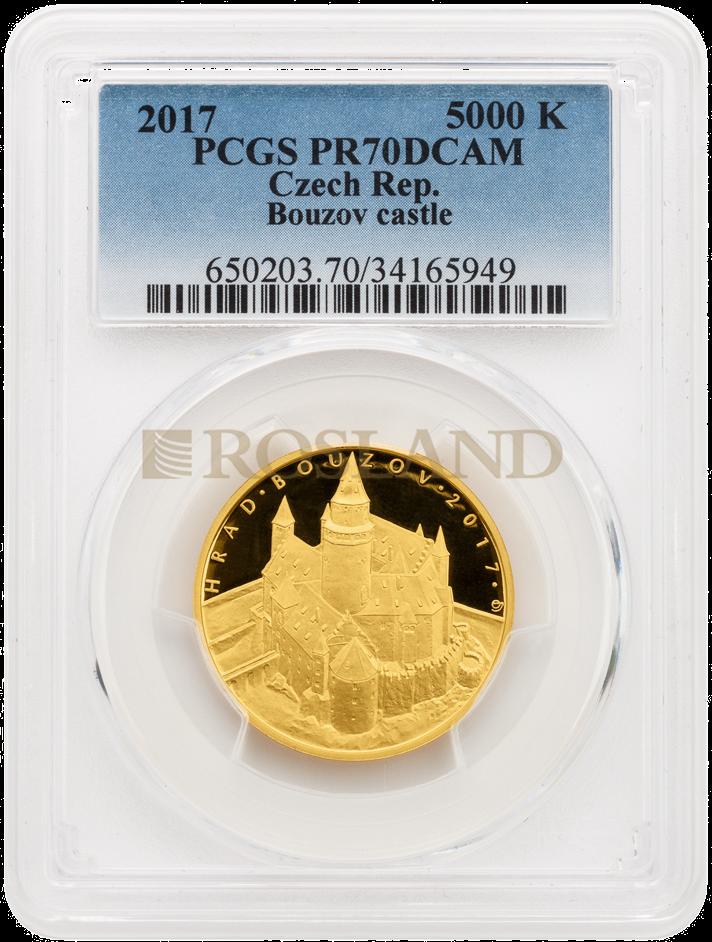 1/2 Unze Goldmünze Tschechisches Schloss Bouzov 2017 PP PCGS PR-70 DCAM