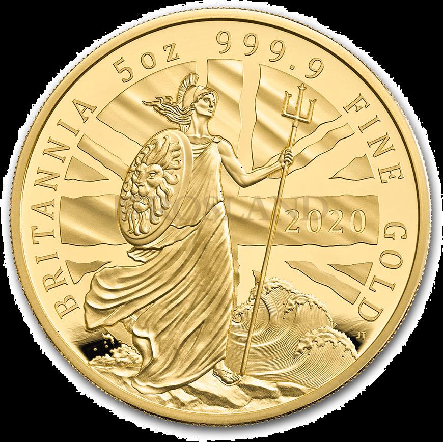 5 Unzen Goldmünze Britannia 2020 PP (Box, Zertifikat)