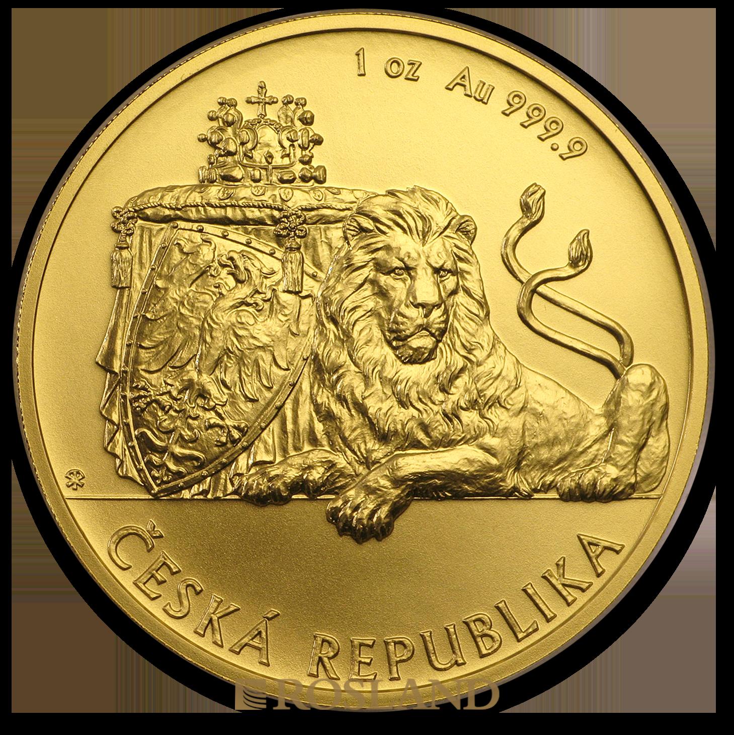 1 Unze Goldmünze Tschechischer Löwe 2019