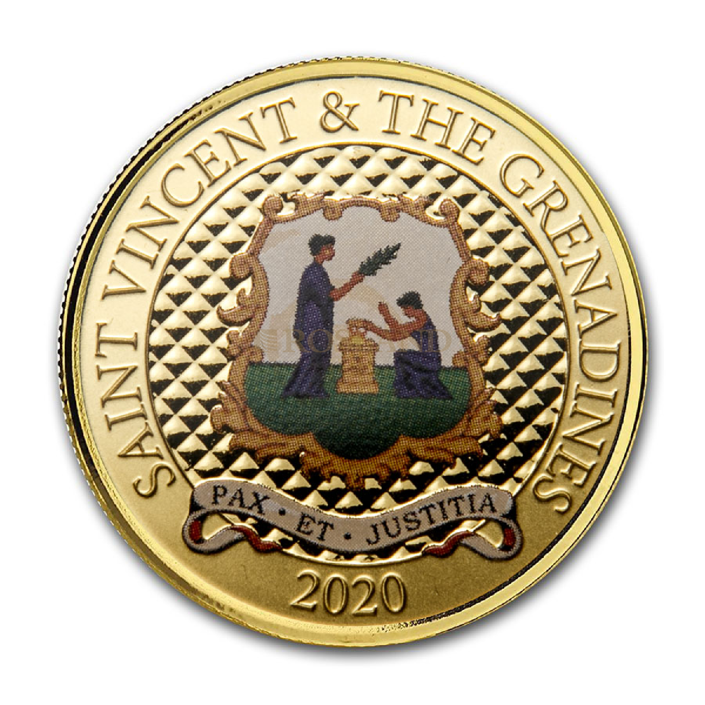 1 Unze Goldmünze EC8 St. Vicent & the Grenadines Pax Et Justitia 2020 PP (Koloriert, Box, Zertifikat)