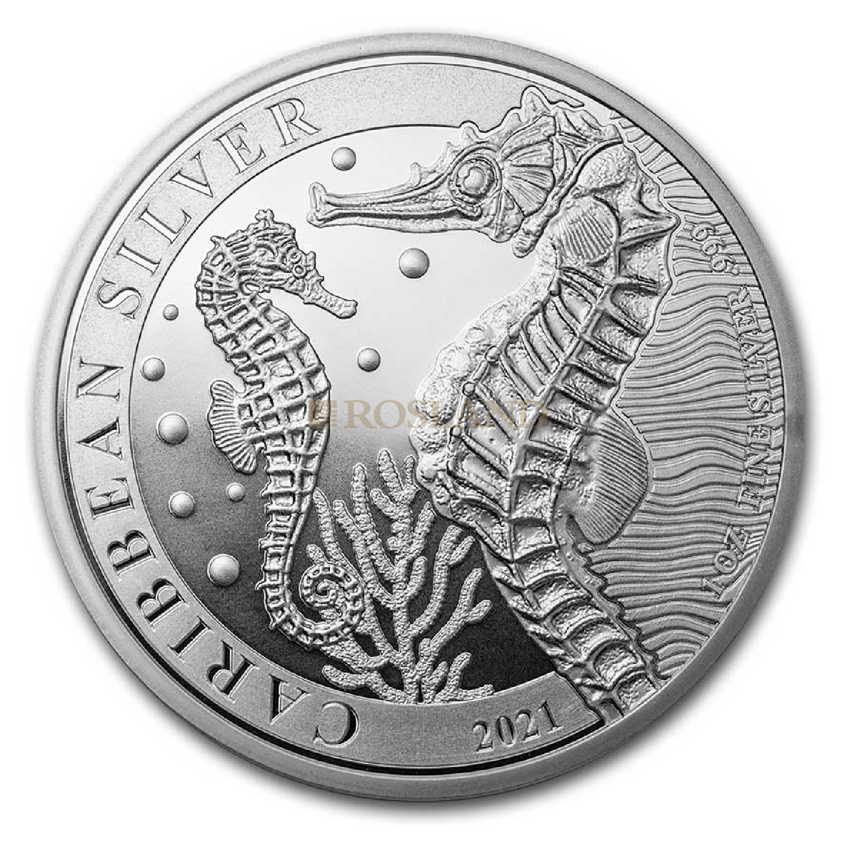 1 Unze Silbermünze Barbados Seepferd 2021
