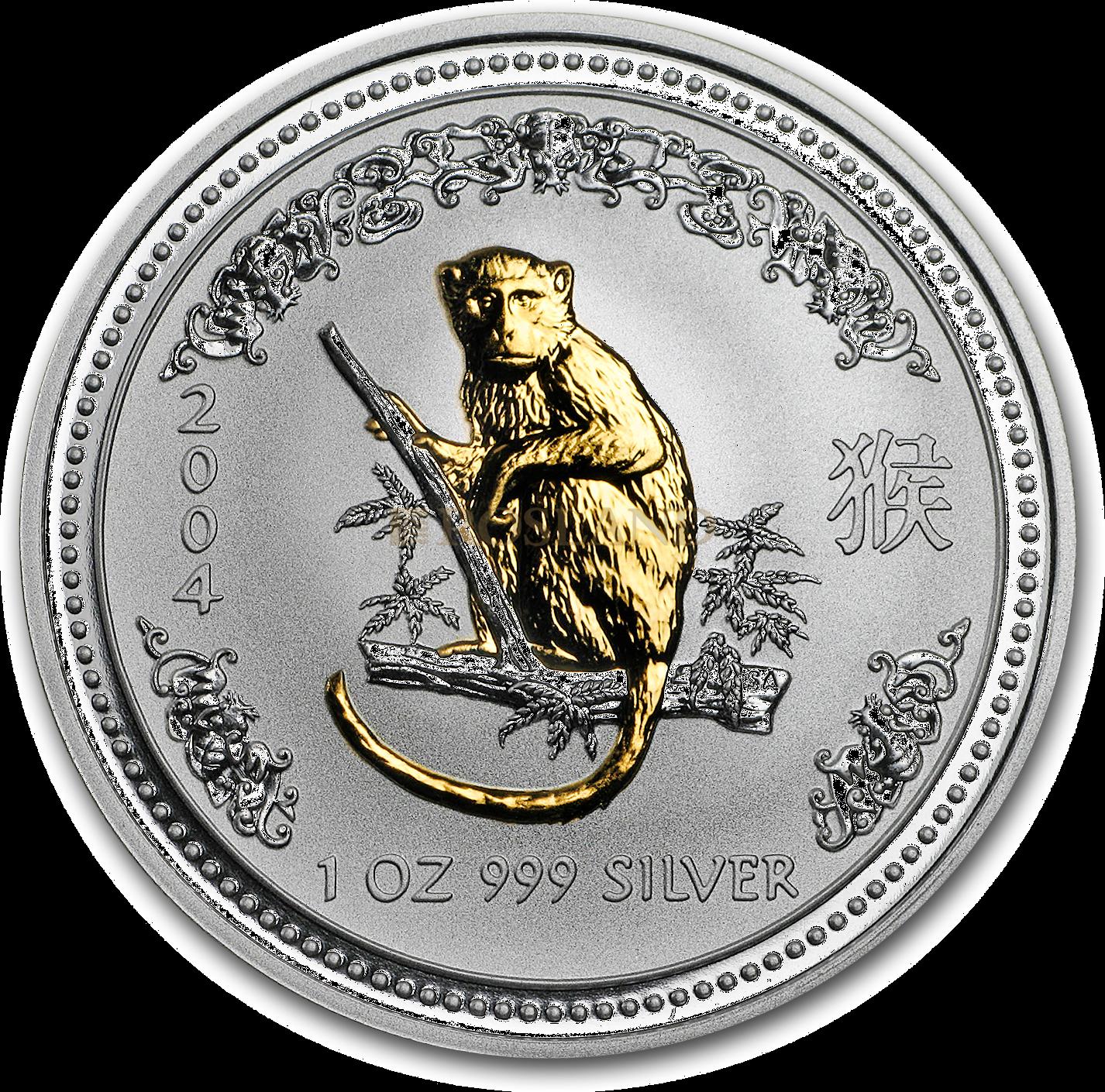 1 Unze Silbermünze Australien Lunar 1 Affe 2004 (Vergoldet, Zertifikat)