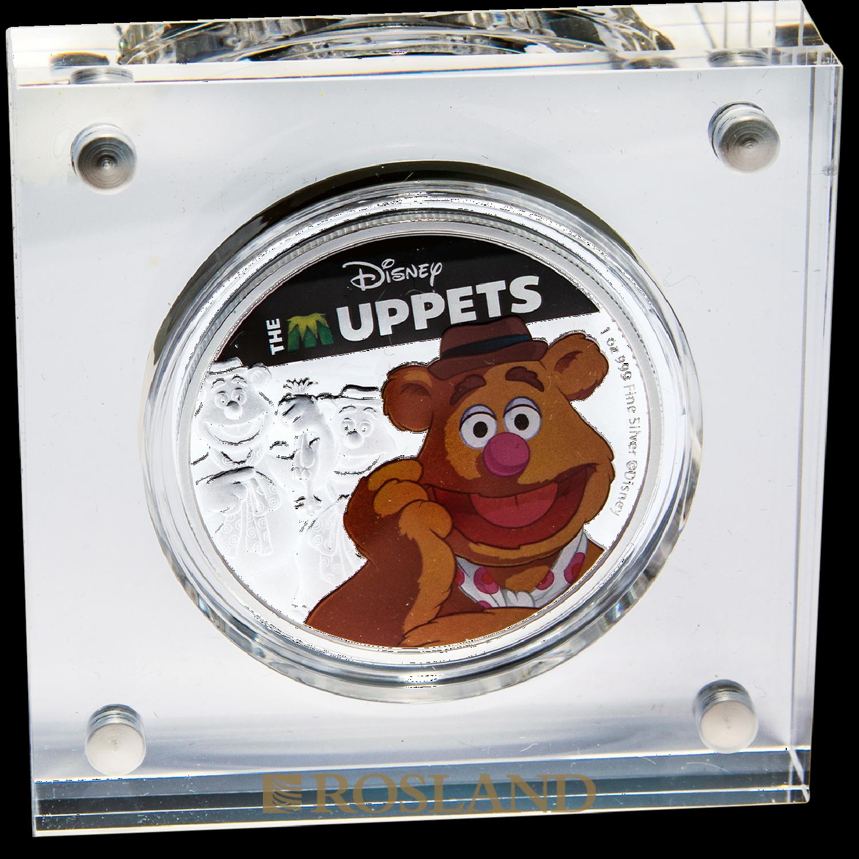 1 Unze Silbermünze Disney® Muppets Fozzi Bär 2019 PP (Koloriert, Box, Zertifikat)