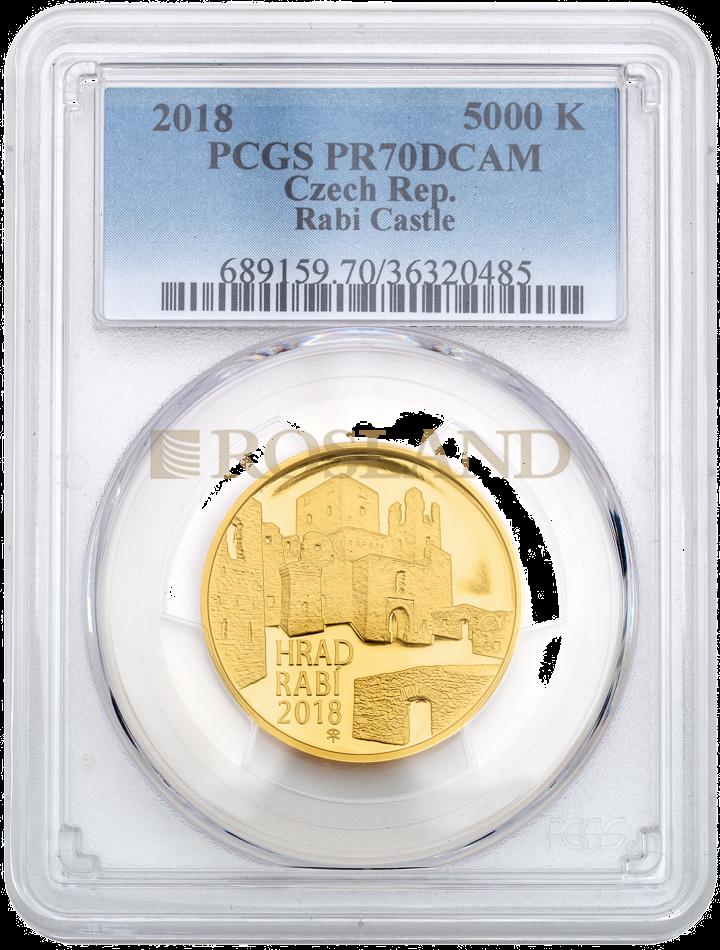 1/2 Unze Goldmünze Tschechisches Schloss Rabi 2018 PP PCGS PR-70 DCAM