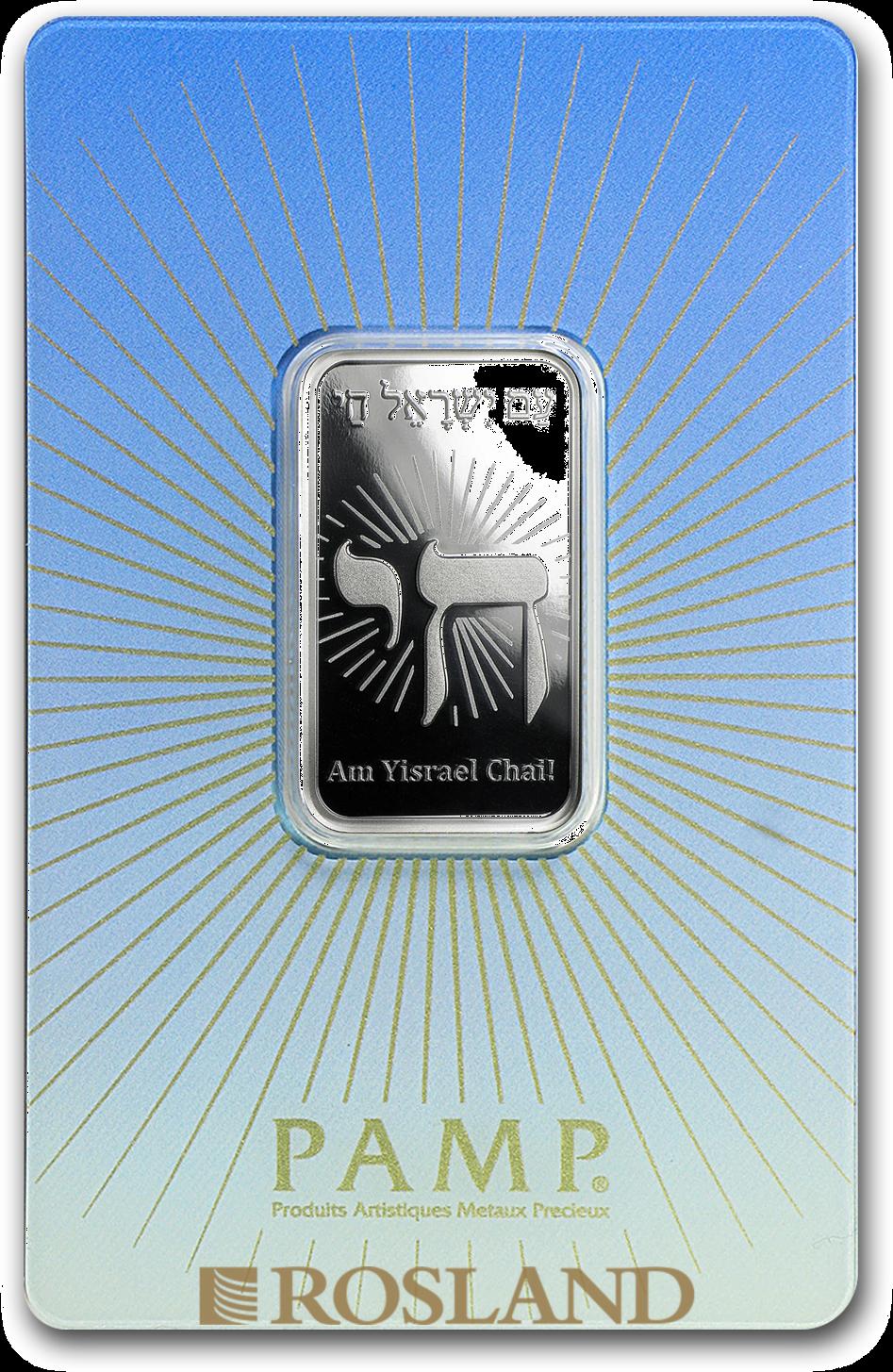 10 Gramm Silberbarren PAMP Religion - Am Yisrael Chai