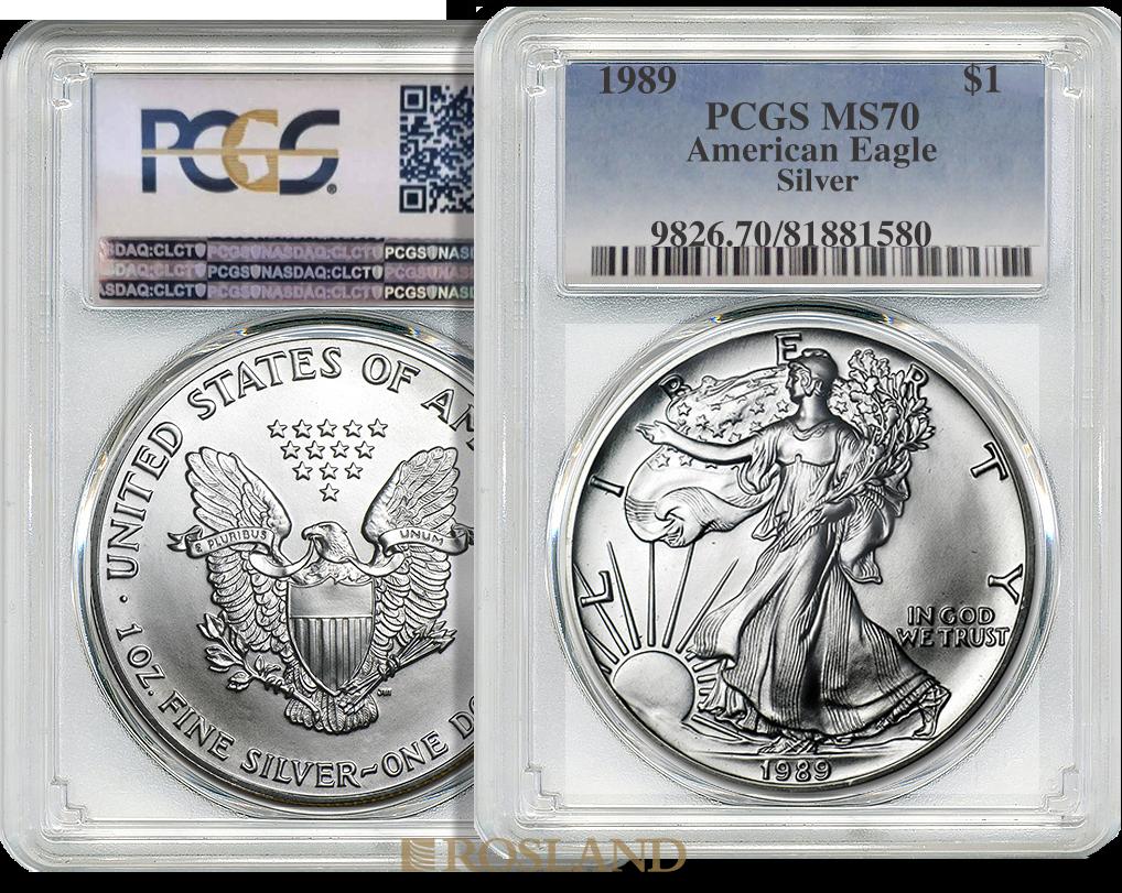 1 Unze Silbermünze American Eagle 1989 PCGS MS-70