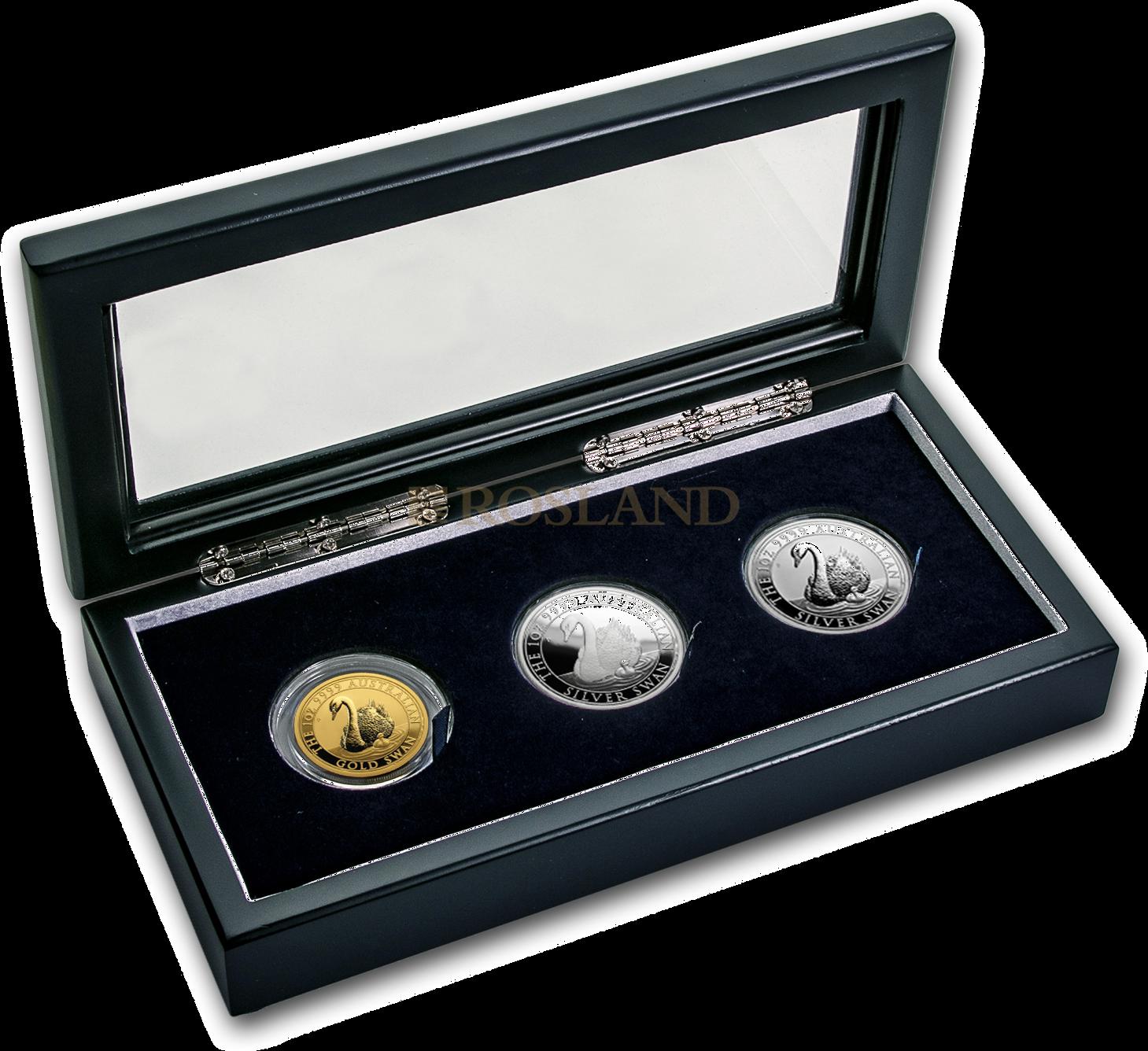 3 Gold- und Silbermünzen Set Australien Schwan 2018