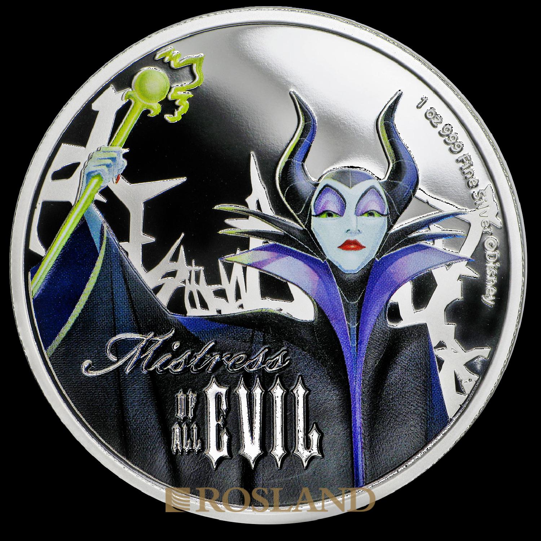 1 Unze Silbermünze Disney© Maleficent 2018 PP (Koloriert, Box, Zertifikat)