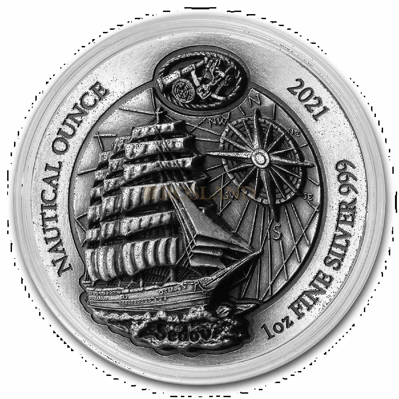 1 Unze Silbermünze Ruanda Nautical Sedov 2021 Antik-Design PP High Relief