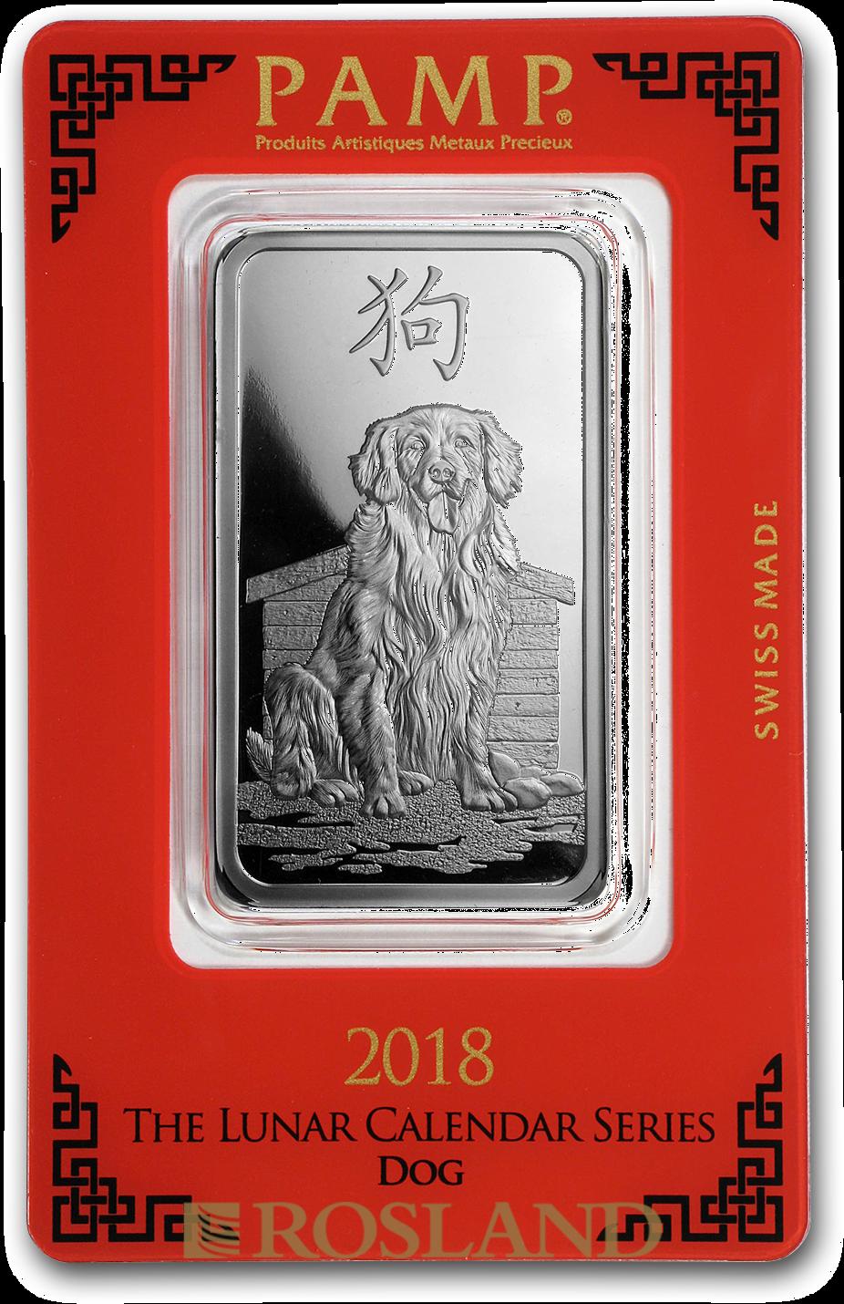 1 Unze Silberbarren PAMP Lunar Jahr des Hundes 2018