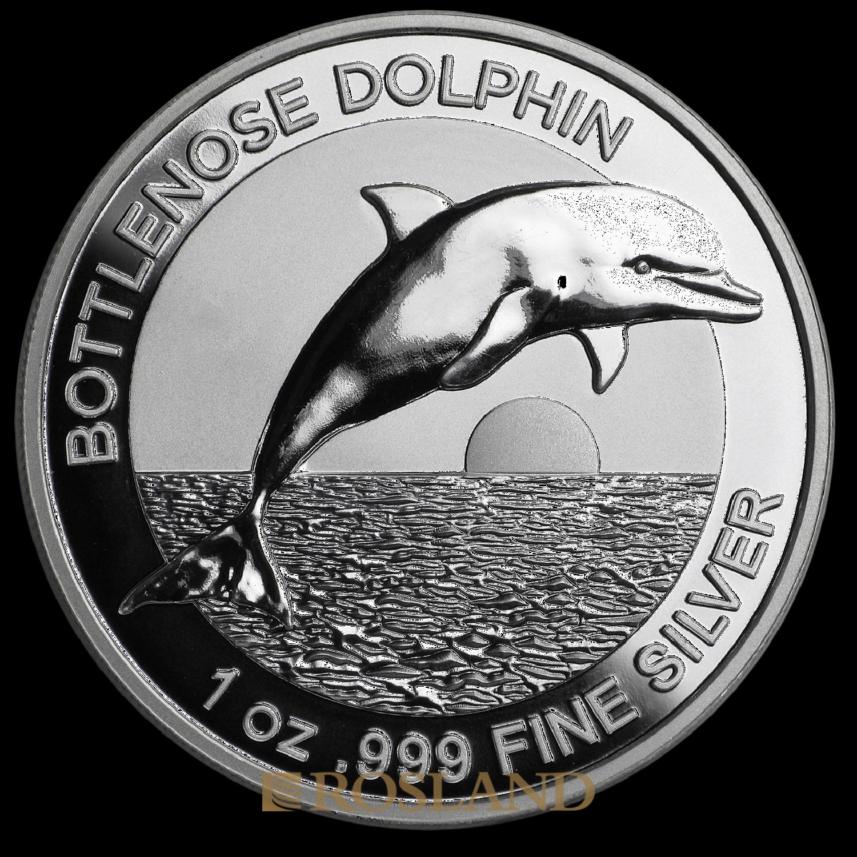 1 Unze Silbermünze Bottlenose Dolphin 2019 PP (HR, Box, Zertifikat)
