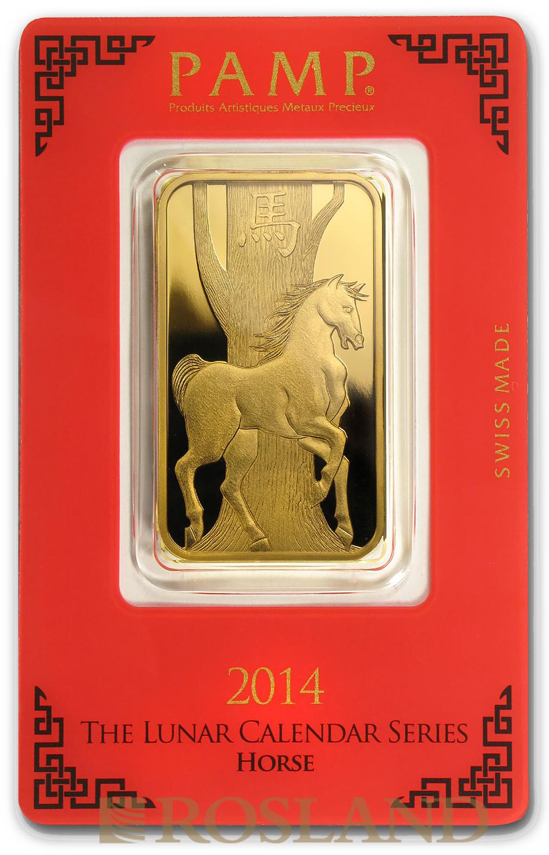 1 Unze Goldbarren PAMP Lunar Jahr des Pferdes 2014