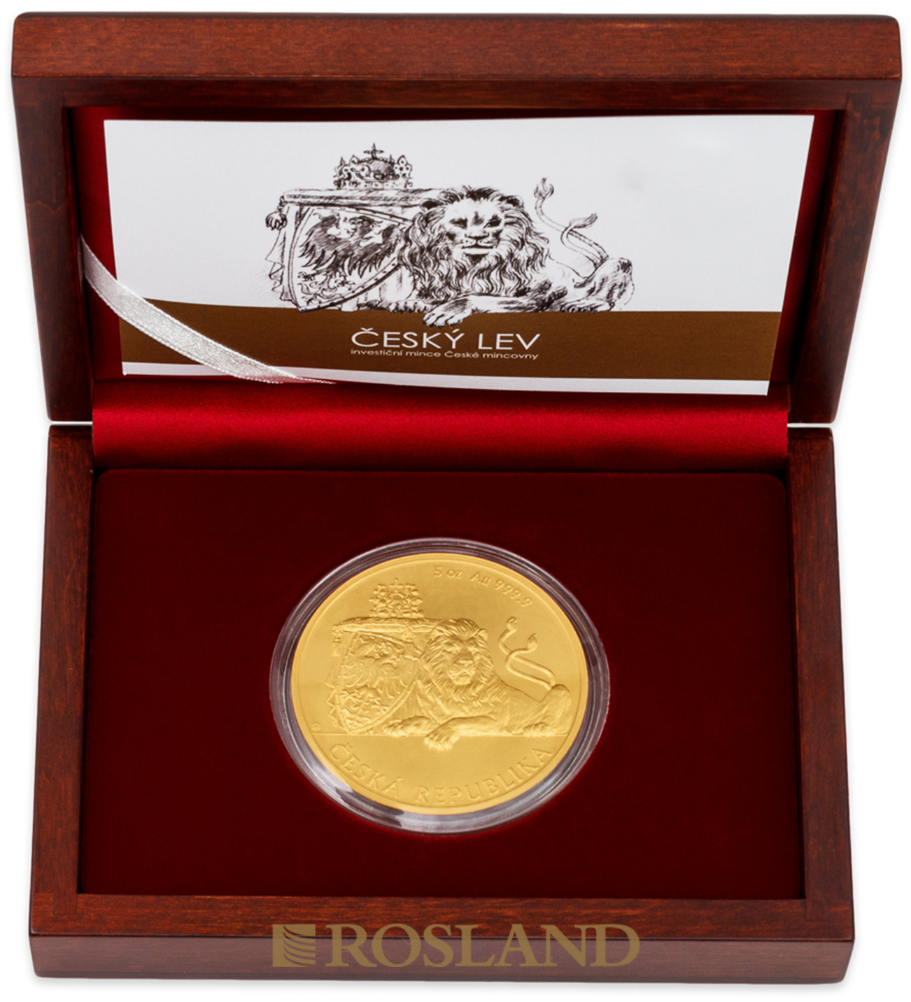 5 Unzen Goldmünze Tschechischer Löwe 2018 (Box, Zertifikat)