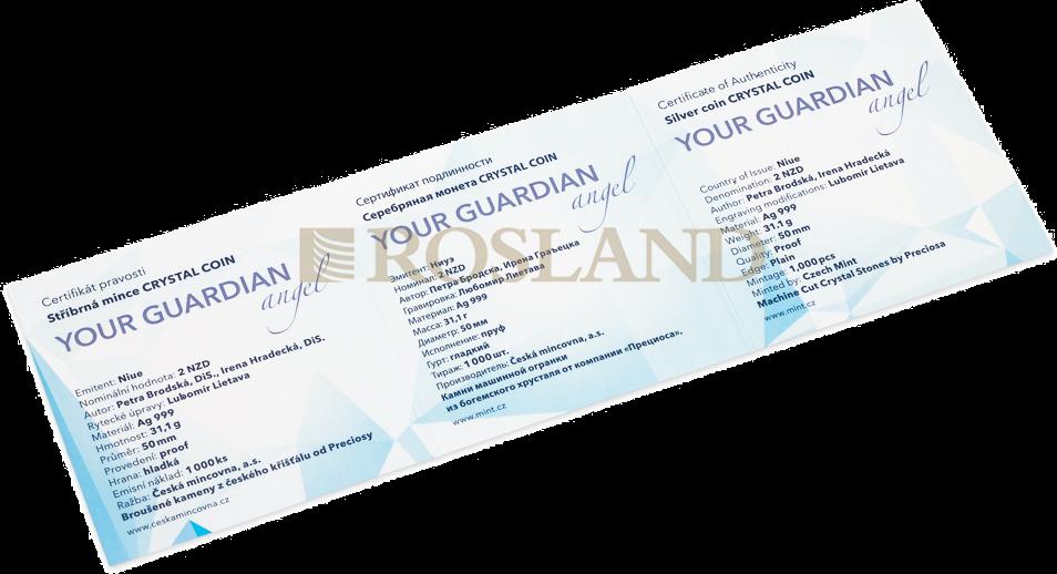 1 Unze Silbermünze Niue Your Guardian Angel 2019 PP (Box, Zertifikat, Edelstein)