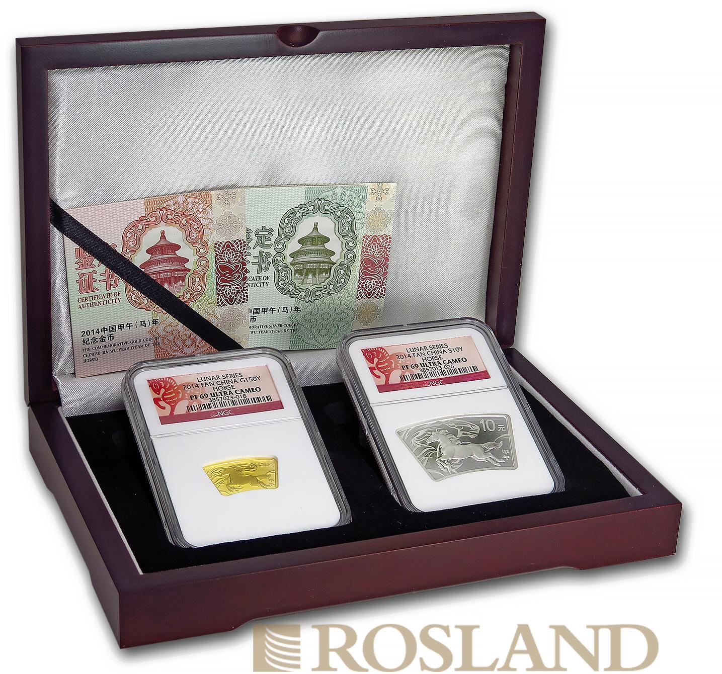 2 Münzen Set Jahr des Pferdes 2014 PP NGC PF-69 (Box, Zertifikat)