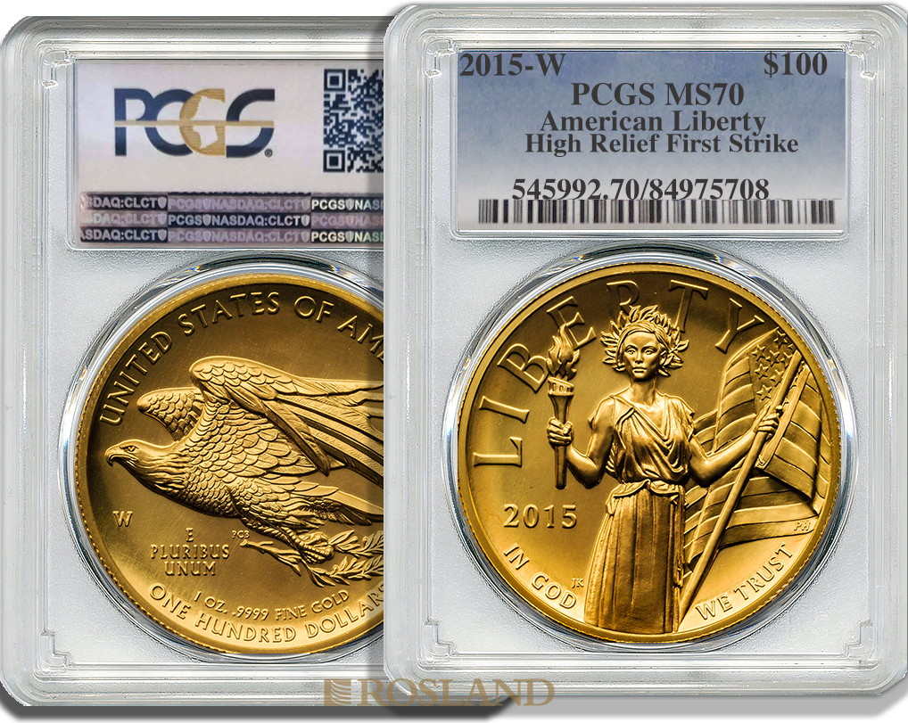 1 Unze Goldmünze American Liberty 2015 PCGS MS-70 (HR, FS)