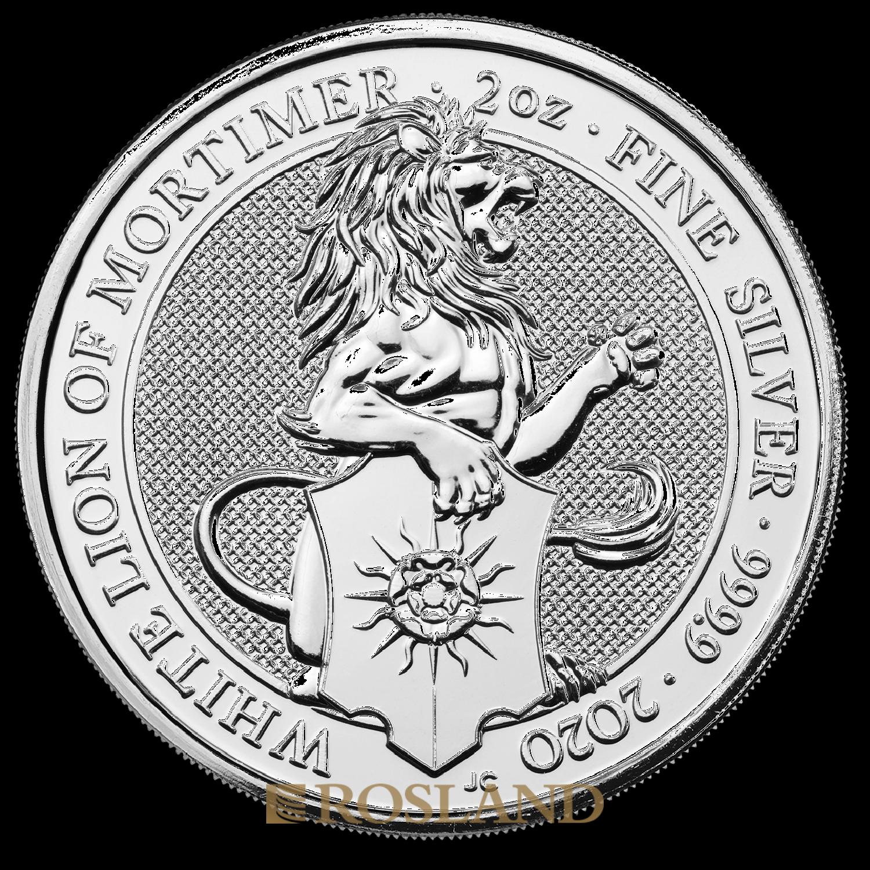 2 Unzen Silbermünze Queens Beasts White Lion 2020