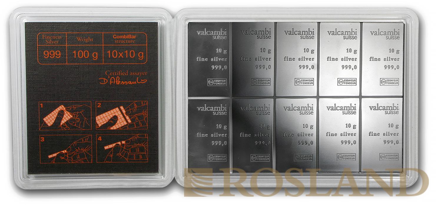 10 x 10 Gramm Silberbarren Valcambi CombiBar™