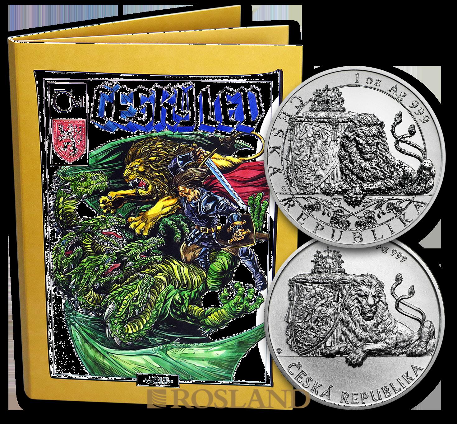 2 Unzen 2 Silbermünzen Set Tschechischer Löwe 2018 PP