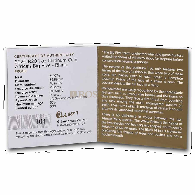 1 Unze Platinmünze Big Five Rhino 2020 PP (Box, Zertifikat)
