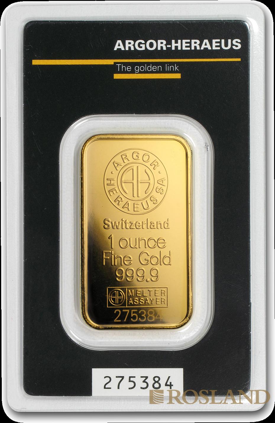 1 Unzen Goldbarren Heraeus Argor (Clean, .9999)