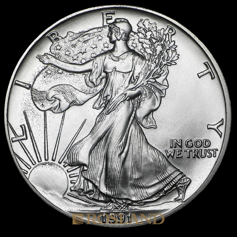 1 Unze Silbermünze American Eagle 1991