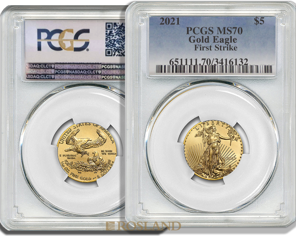 1/10 Unze Goldmünze American Eagle 2021 PCGS MS-70 First Strike