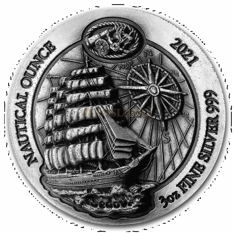 3 Unzen Silbermünze Ruanda Nautical Sedov 2021 Antik-Design PP High Relief