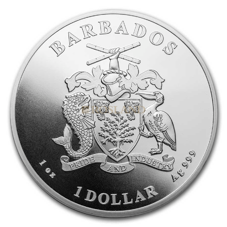 1 Unze Silbermünze Barbados Pelikan 2021