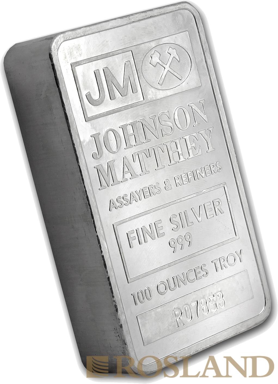 100 Unzen Silberbarren Johnson Matthey (gepresst)