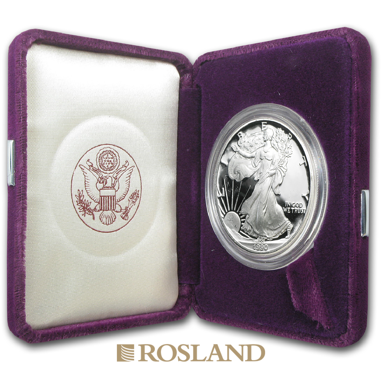 1 Unze Silbermünze American Eagle 1990 (S) PP (Box, Zertifikat)