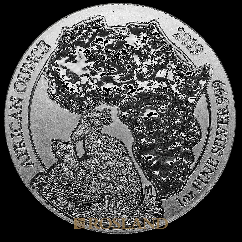 1 Unze Silbermünze Ruanda Wildlife Schuhschnabel 2019