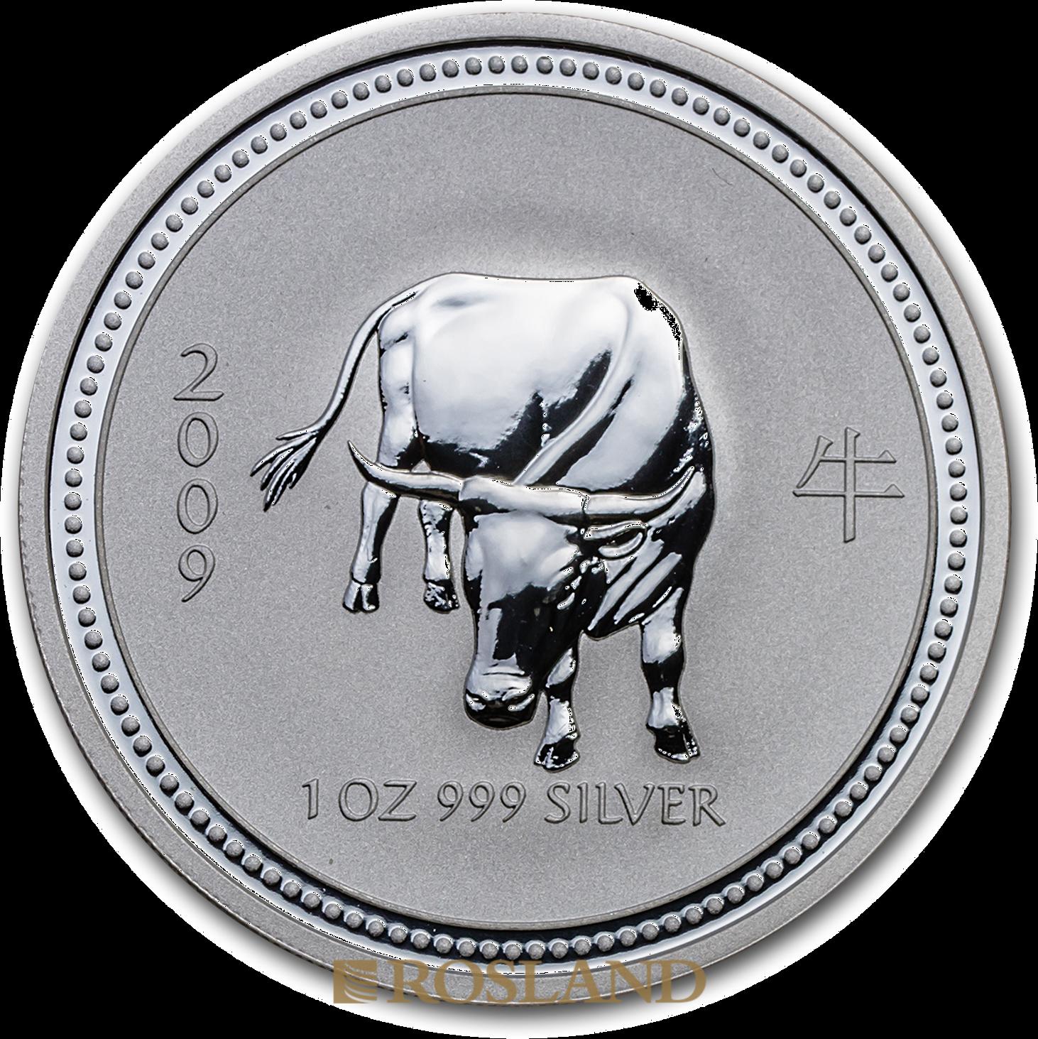 1 Unze Silbermünze Australien Lunar 1 Ochse 2009