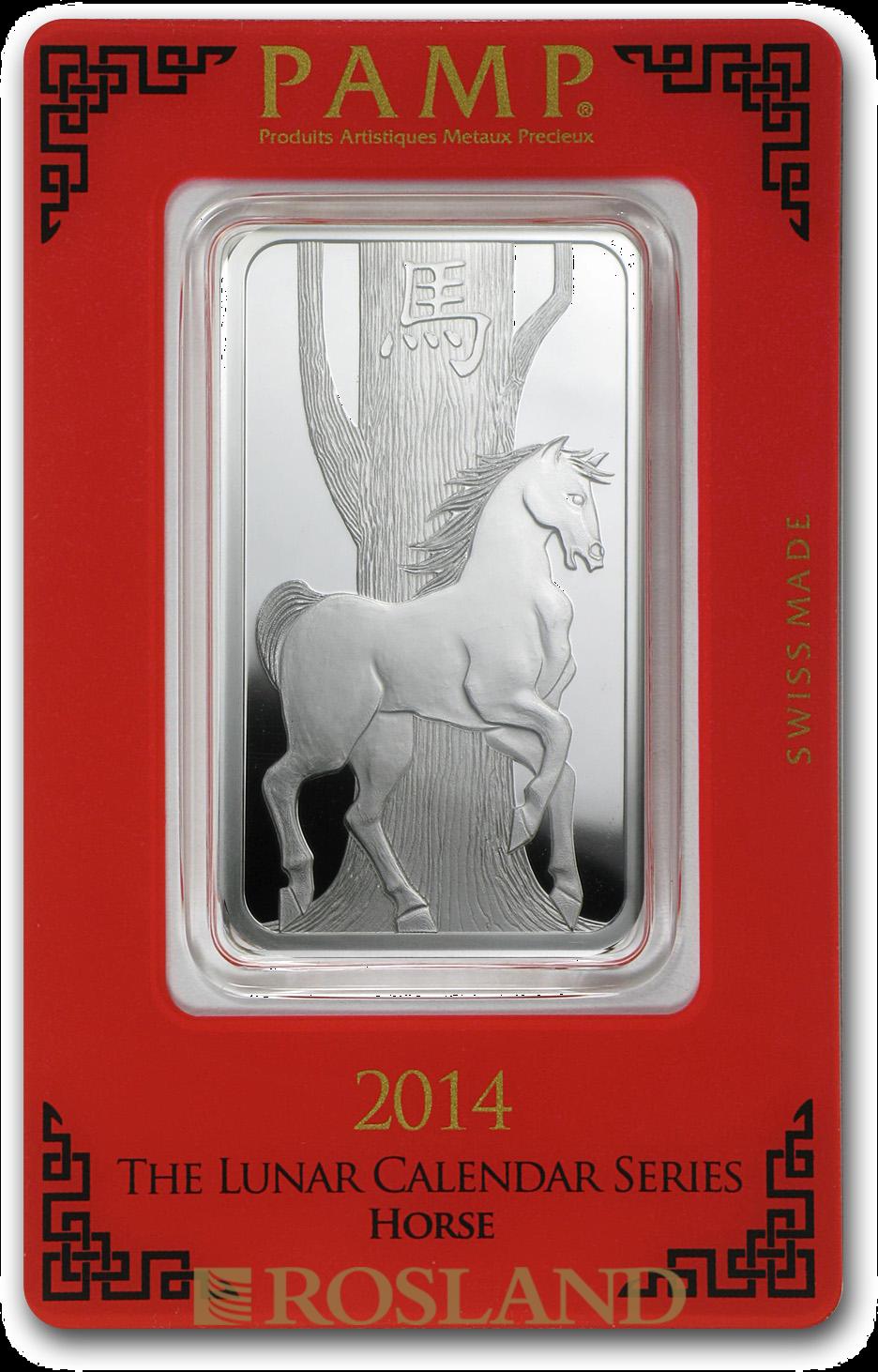 1 Unze Silberbarren PAMP Lunar Jahr des Pferdes 2014