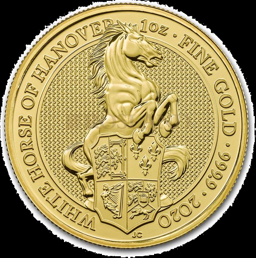 1 Unze Goldmünze Queens Beasts White Horse 2020