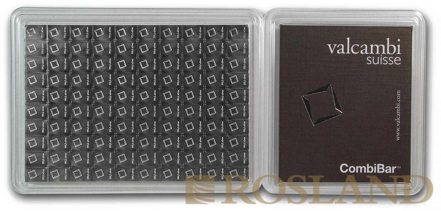 100 x 1 Gramm Silberbarren Valcambi CombiBar™